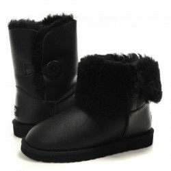 Детские ugg Baby Bailey Button Leather Black